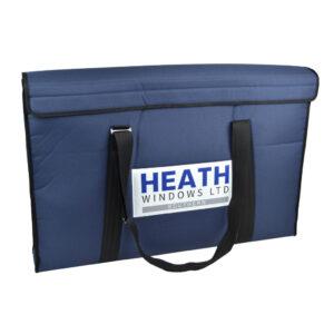 branded heath window branded window frame sample bag