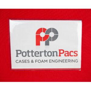 clear PVC logo pocket for padded sample bags